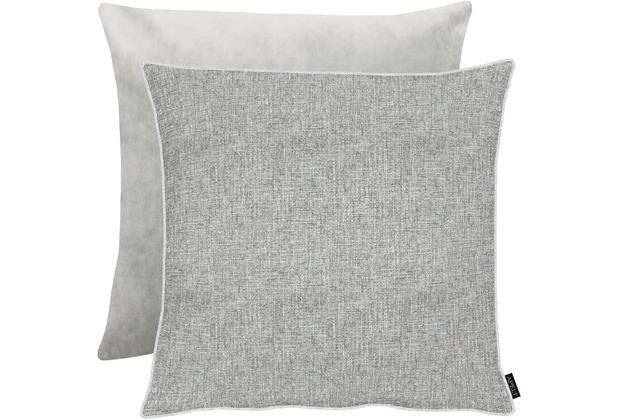 Apelt Unique Kissenhulle Vorderseite Grau Silber Ruckseite Uni Grau 66x66 Cm