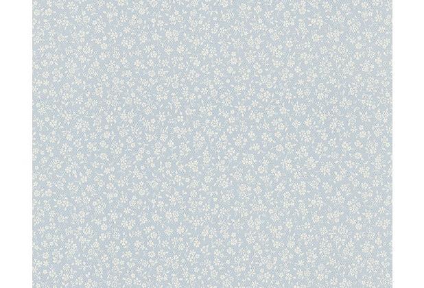 as cr ation bl mchentapete fleuri pastel tapete blau weiss. Black Bedroom Furniture Sets. Home Design Ideas