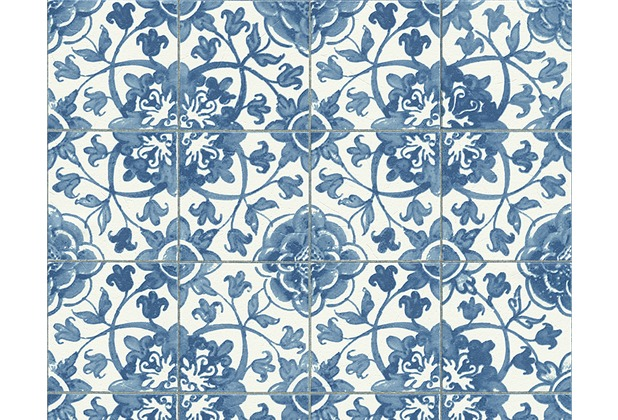 As cr ation mustertapete simply decor tapete blau wei for Tapete muster blau