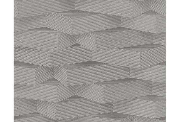 Wohnzimmer wohnzimmer einrichten braun grün : AS Création Mustertapete in 3D-Optik Move your Wall, Tapete, grau ...