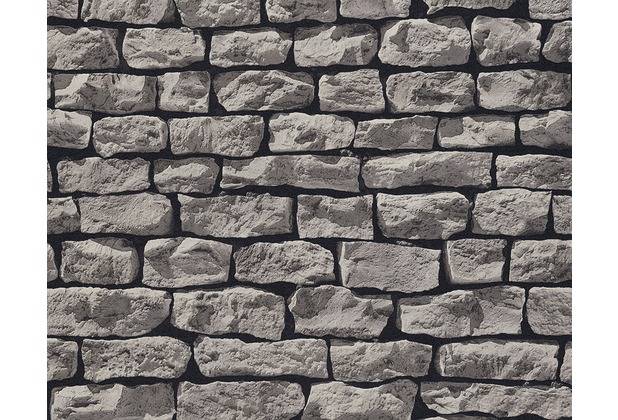 as cr ation mustertapete wood n stone tapete natursteinoptik grau schwarz. Black Bedroom Furniture Sets. Home Design Ideas