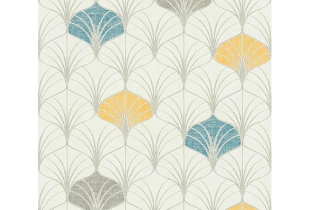 As Creation Vliestapete Pop Style Art Deco Tapete Gelb Blau Grau 374831 Hertie De