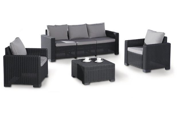 Best 4-tlg. Lounge Gartenmöbel Mombasa graphit/hellgrau   Hertie.de