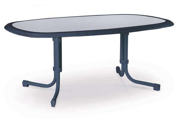 Blauer Gartentisch.Best Tisch Boulevard Oval 146x94cm Blau Gartentisch