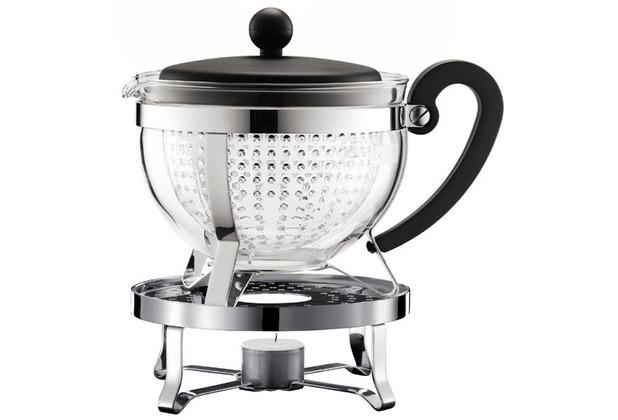 Teekanne Bodum bodum chambord set teekanne mit stövchen 1 3 l mit schwarzem