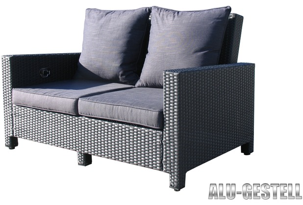 famous home rattan lounge sofa 140cm couch futon couchgarnitur schwarz schwarz. Black Bedroom Furniture Sets. Home Design Ideas