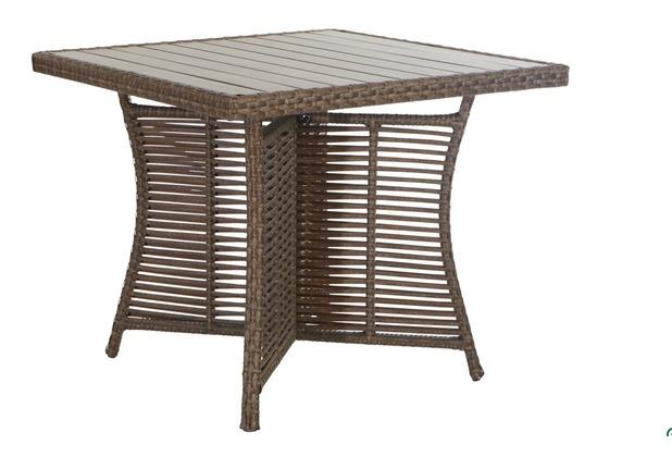 famous home rattan tisch vintage 90x90cm braungrau. Black Bedroom Furniture Sets. Home Design Ideas
