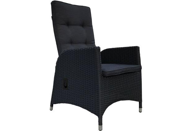 Grasekamp 2 Stück Polyrattan Sessel Mit Auflagen Gasdruck Gartensessel  Verstellbar Gartenmöbel Stuhl Rattan Geflecht Schwarz