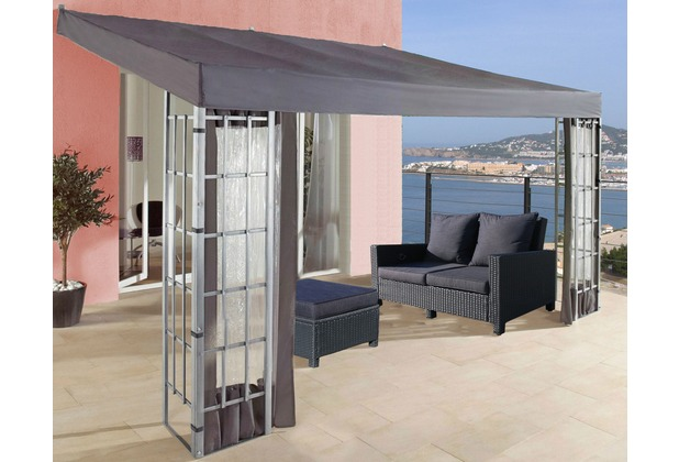 grasekamp anbaupergola alu optik in anthrazit 3x4m silber. Black Bedroom Furniture Sets. Home Design Ideas