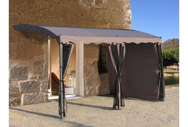 grasekamp anbaupergola mallorca 400x300cm taupe ral 7006. Black Bedroom Furniture Sets. Home Design Ideas