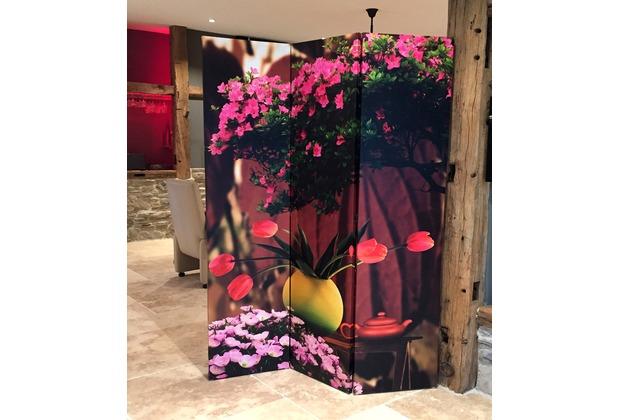 Grasekamp Paravent 3tlg Raumteiler Trennwand Romantik Bunt Hertiede