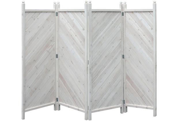 Grasekamp Paravent 4tlg Raumteiler Trennwand Sichtschutz Kiefer