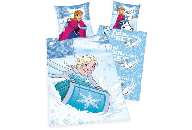 Herding Disneys Die Eiskönigin Renforcé Bettwäsche 135x200 Cm Blau