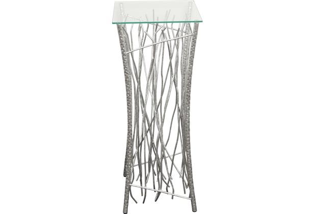 Holl nder hochtisch relitto metall silber glasplatte for Hochtisch mit schublade