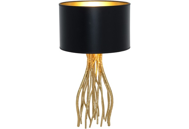 holl nder tischleuchte 1 flg capri klein eisen gold schirm au en schwarz innen gold. Black Bedroom Furniture Sets. Home Design Ideas