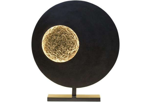 holl nder tischleuchte luna rund eisen braun schwarz gold. Black Bedroom Furniture Sets. Home Design Ideas