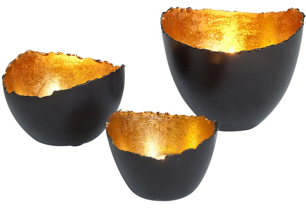 holl nder windlicht set 3 tlg venato metall schwarzbraun gold. Black Bedroom Furniture Sets. Home Design Ideas