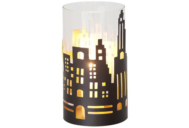 holl nder windlicht 1 flg skyline gross metall au en kupfer braun innen gold glas klar. Black Bedroom Furniture Sets. Home Design Ideas