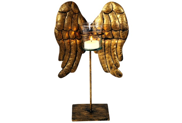 holl nder windlicht 1 flg wings klein eisen antikgold. Black Bedroom Furniture Sets. Home Design Ideas