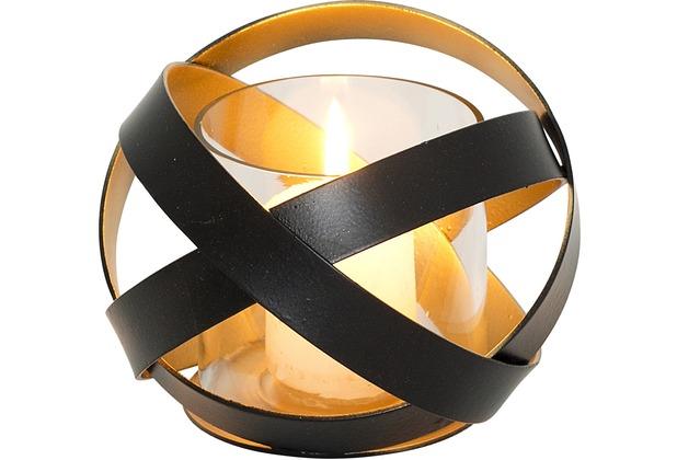 holl nder windlicht la rete klein metall schwarz innen gold glas. Black Bedroom Furniture Sets. Home Design Ideas