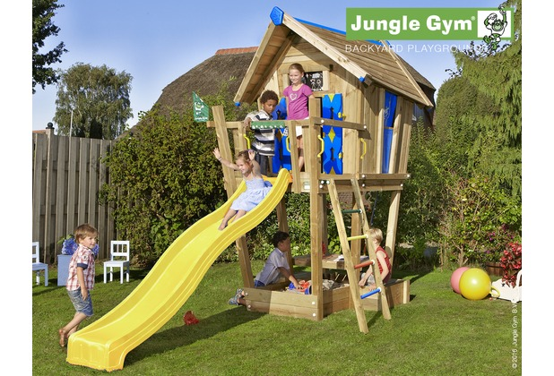 jungle gym spielhaus crazy playhouse cxl mit langer wavy star rutsche. Black Bedroom Furniture Sets. Home Design Ideas