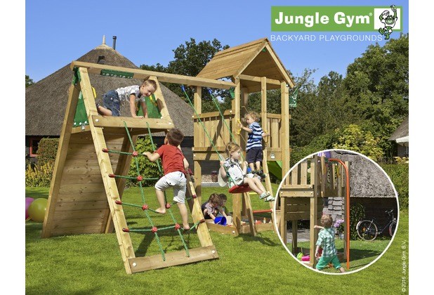 jungle gym spielturm club kletterger st mit roter feuerwehr rutschstange. Black Bedroom Furniture Sets. Home Design Ideas