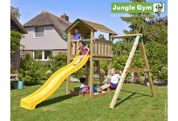 jungle gym spielturm cottage 1 schaukel mit langer wavy star rutsche mit wasseranschluss. Black Bedroom Furniture Sets. Home Design Ideas