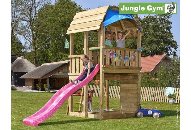 Klettergerüst Jungle Gym : Jungle gym spielturm barn mit langer wavy star rutsche