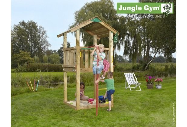jungle gym spielturm jungle casa mit roter feuerwehr rutschstange. Black Bedroom Furniture Sets. Home Design Ideas