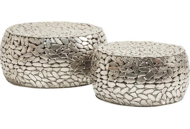 Kare Design Couchtisch Pebbles Deluxe Silber 2set Hertiede