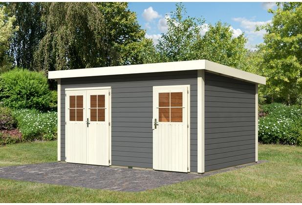 karibu mattrup 28 mm mittelwandhaus mit flachdach. Black Bedroom Furniture Sets. Home Design Ideas
