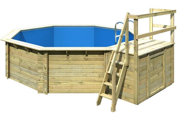 karibu pool modell 2 variante b inklusive sonnenterrasse mit holztreppe f r terrasse und. Black Bedroom Furniture Sets. Home Design Ideas
