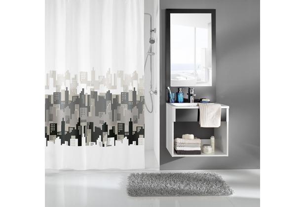 kleine wolke duschvorhang city schwarz wei 180 x 200 cm. Black Bedroom Furniture Sets. Home Design Ideas