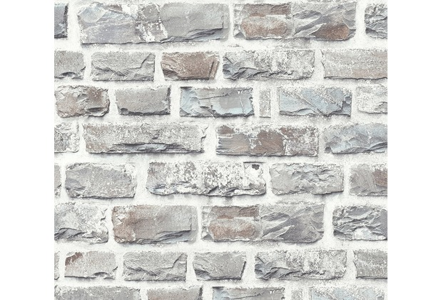 2,97€//1qm livingwalls Neue Bude Tapete Vlies 37388-1 Kacheln taupe grau türkis