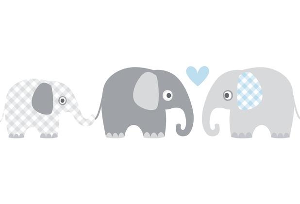 Lovely Label Selbstklebende Bordüre Elefanten Grau/Blau | Hertie.de