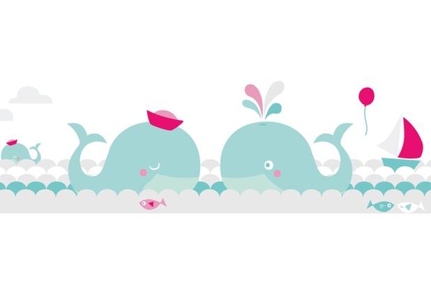 Lovely Label Selbstklebende Bordüre Wale Mint/Grau/Pink | Hertie.de