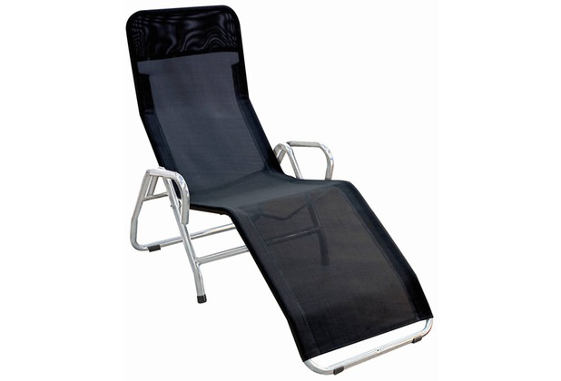 mfg b derliege pool 3 stahlrohrgestell silber gewebe schwarz l 139 x b 72 x h 118 cm. Black Bedroom Furniture Sets. Home Design Ideas