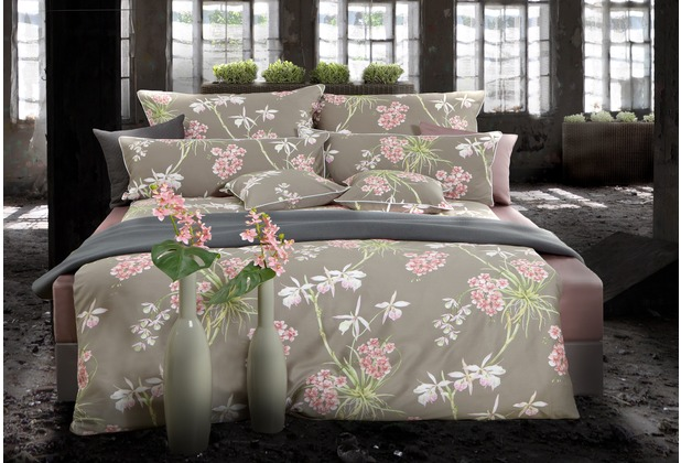 pfeiler mako satin bettw sche blumen taupe rose super. Black Bedroom Furniture Sets. Home Design Ideas
