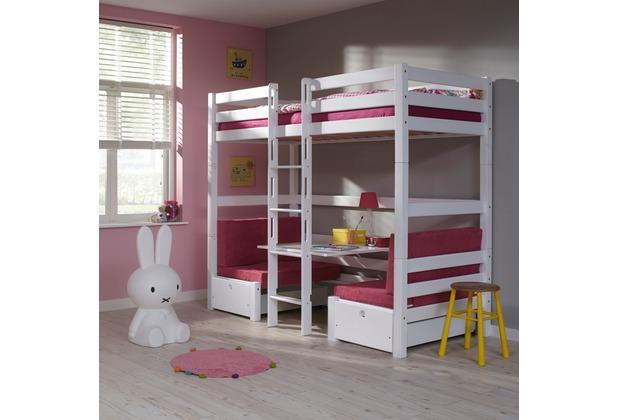 Etagenbett Weiß 90x200 : Relita etagenbett finley 90x200 weiß lackiert kissen pink