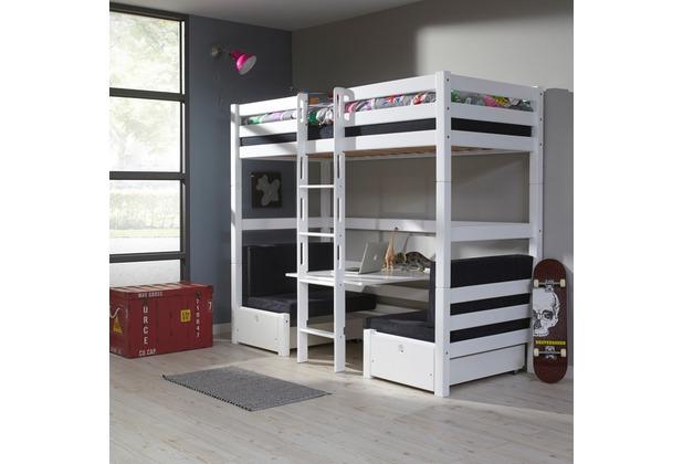 Relita Etagenbett Beni Weiß Lackiert : Relita etagenbett finley 90x200 weiß lackiert kissen schwarz