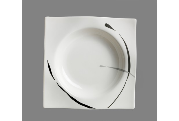 via by r b teller tief porzellan 22x22x3cm eckig dacapo grau schwarz. Black Bedroom Furniture Sets. Home Design Ideas