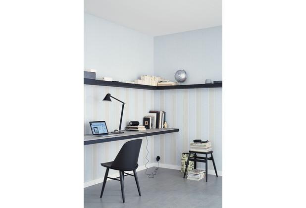 Schöner Wohnen Blockstreifentapete Vliestapete blau grau weiß