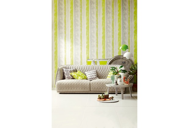 Schöner Wohnen Muster Strukturtapete Tapete Gelb Grau Grün
