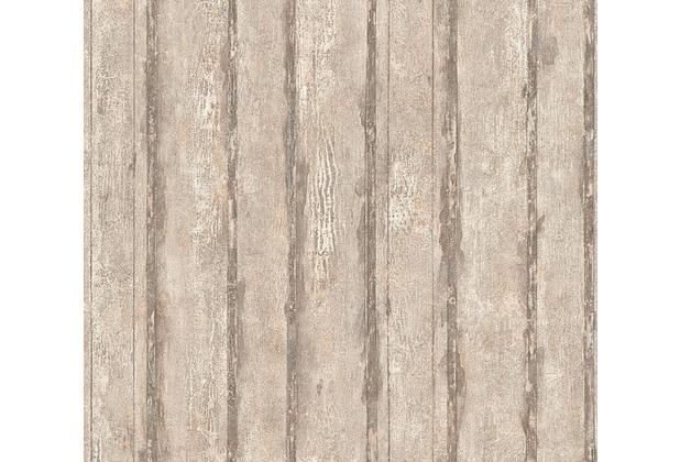 Schöner Wohnen Mustertapete in Vintage Holz Optik Tapete beige grau metallic