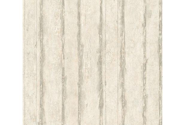 Schöner Wohnen Mustertapete In Vintage Holz Optik Tapete Creme Grau