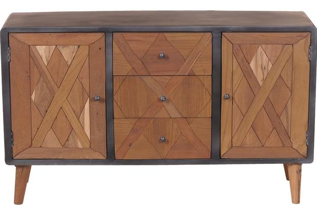 sit m bel cross sideboard 2 t ren 3 schubladen holz natur lackiert metall antik grau. Black Bedroom Furniture Sets. Home Design Ideas