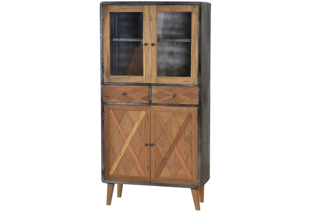 sit m bel cross vitrine 2 schubladen 2 holzt ren 2 t ren mit glaseinsatz holz natur lackiert. Black Bedroom Furniture Sets. Home Design Ideas