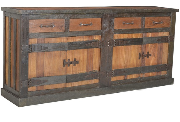 SIT-Möbel FORTEZZA Sideboard 4 Türen, 4 Schubladen natur mit dunkel ...