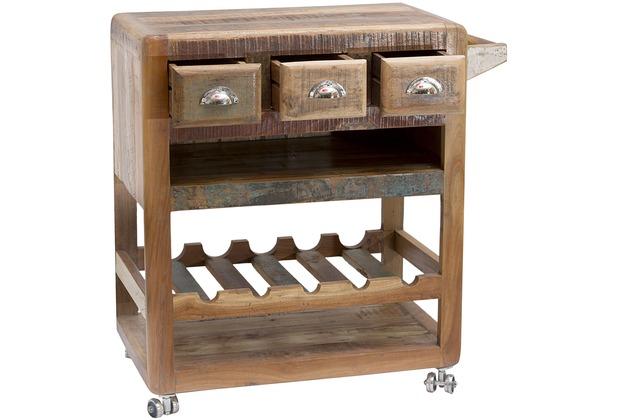 SIT-Möbel FRIDGE Küchenwagen 3 Schubladen, 2 offene Ablage, 1 Weinablage  für 5 Flaschen bunt