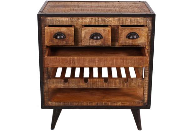 SIT-Möbel IRON Küchenwagen 3 Schubladen, 1 herausnehmbares Tablett, Ablage  für 4 Flaschen burnt oak-color mit antikschwarz